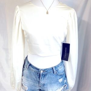 OLIVACEOUS WHITE STATEMENT CROP TOP WITH BACK CUT OUT